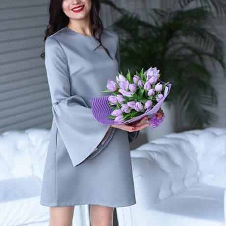 Букет из 21 фиолетового тюльпана