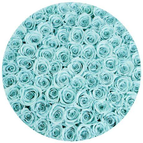 101 синяя роза в шляпной коробке (сверху)