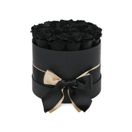 21 черная роза в шляпной коробке
