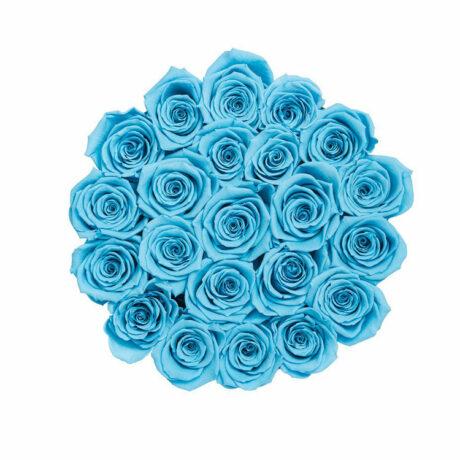 21 синяя роз в шляпной коробке (сверху)