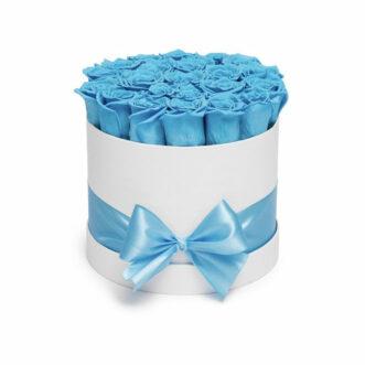 21 синяя роз в шляпной коробке