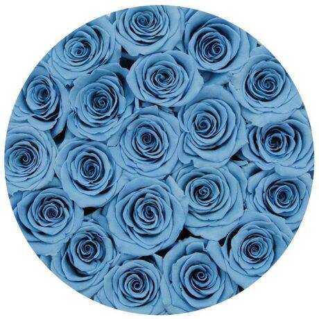 25 синих роз в шляпной коробке (сверху)
