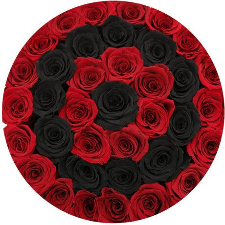 Черные и красные розы в шляпной коробке (сверху)