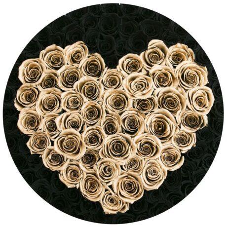 Черные и золотые розы в шляпной коробке (сверху)