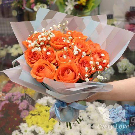 Букет из 13 оранжевых роз