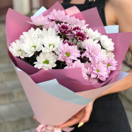 Букет из 5 разноцветных кустовых хризантем
