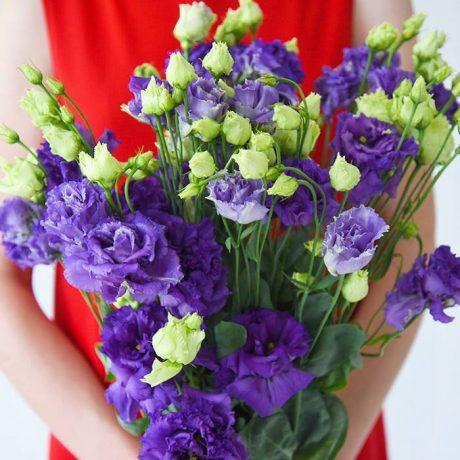 Букет из 9 фиолетовых эустом