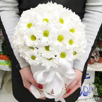 Белые хризантемы в шляпной коробке