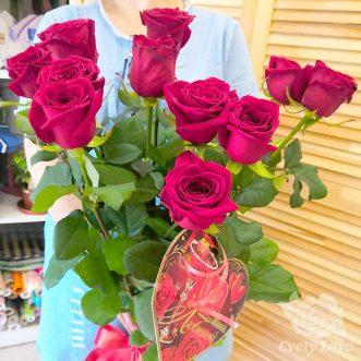 Букет из 11 красных роз 70 см
