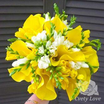 Букет невесты из желтых калл и фрезии
